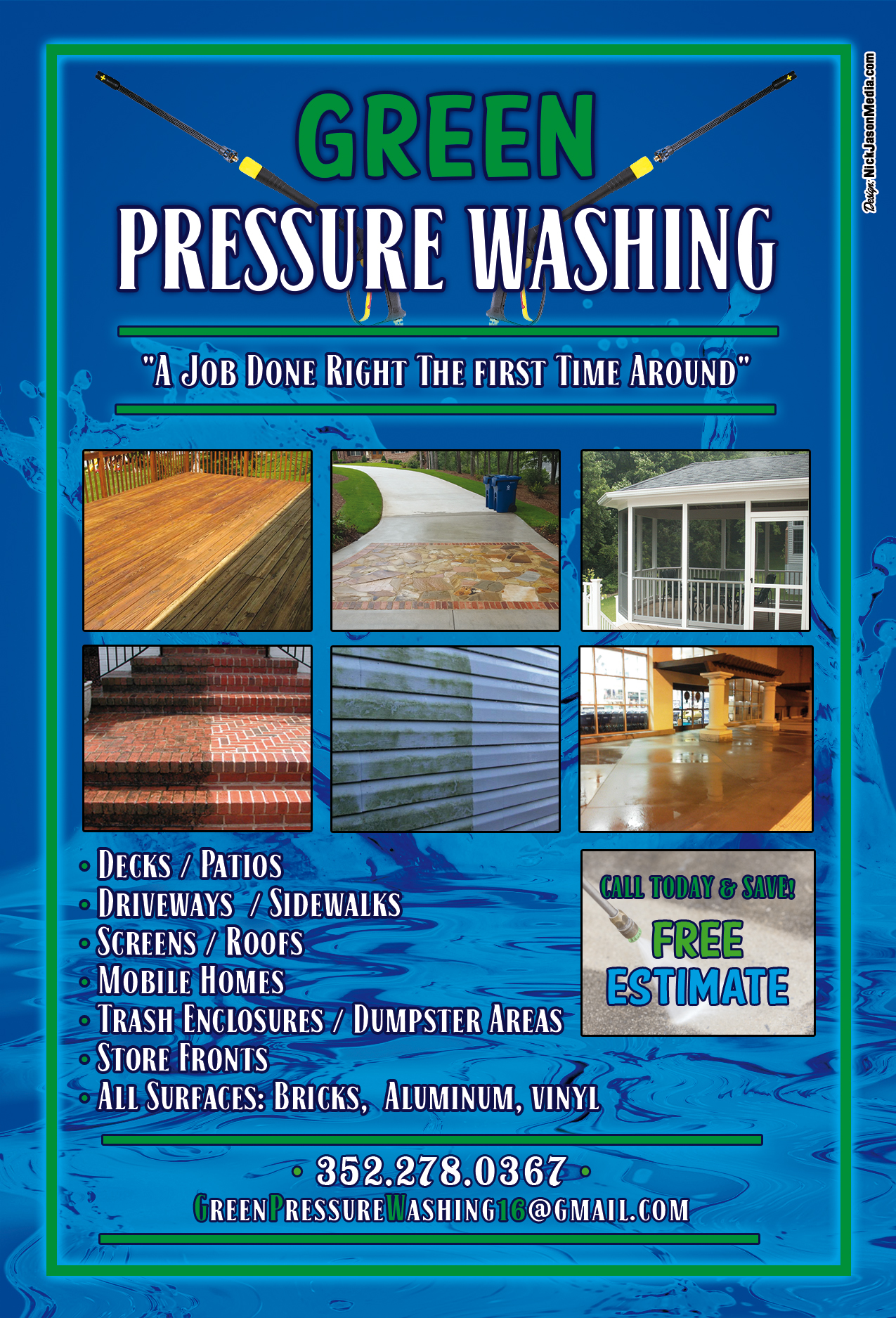 Flyer Design: Green Pressure Washing (Back)